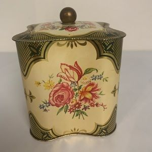 VICTORIAN FLORAL DESIGN LIDDED METAL TIN CONTAINER